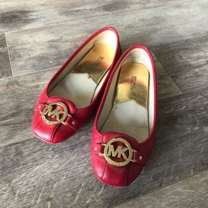 Red Ballet Flats with Gold Hardware